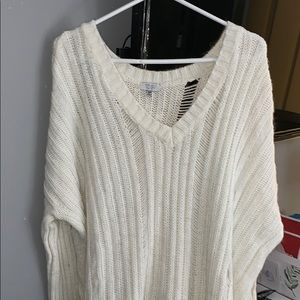 Oversized White Knit Tobi Sweater